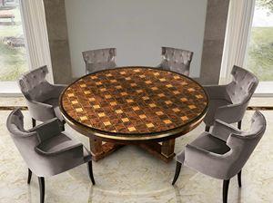 ART. 3290, Table ronde avec plateau incrusté