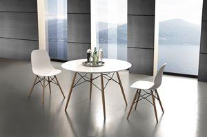 Art. 644 Shell Table, Table de cuisine ronde avec dessus en stratifié