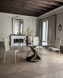 CAPRI, Table fixe avec structure en métal base peinte et en marbre