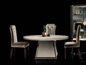DIAMANTE table ronde, Élégante table à manger avec plateau rond