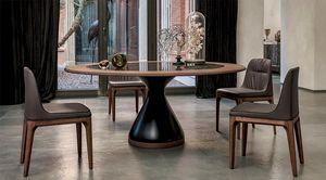 DOLLY, Table avec base en aggloméré laqué, plateau en verre ou en céramique avec anneau en bois
