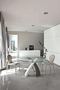 ELISEO, Table à manger avec plateau en verre rond, pour le restaurant