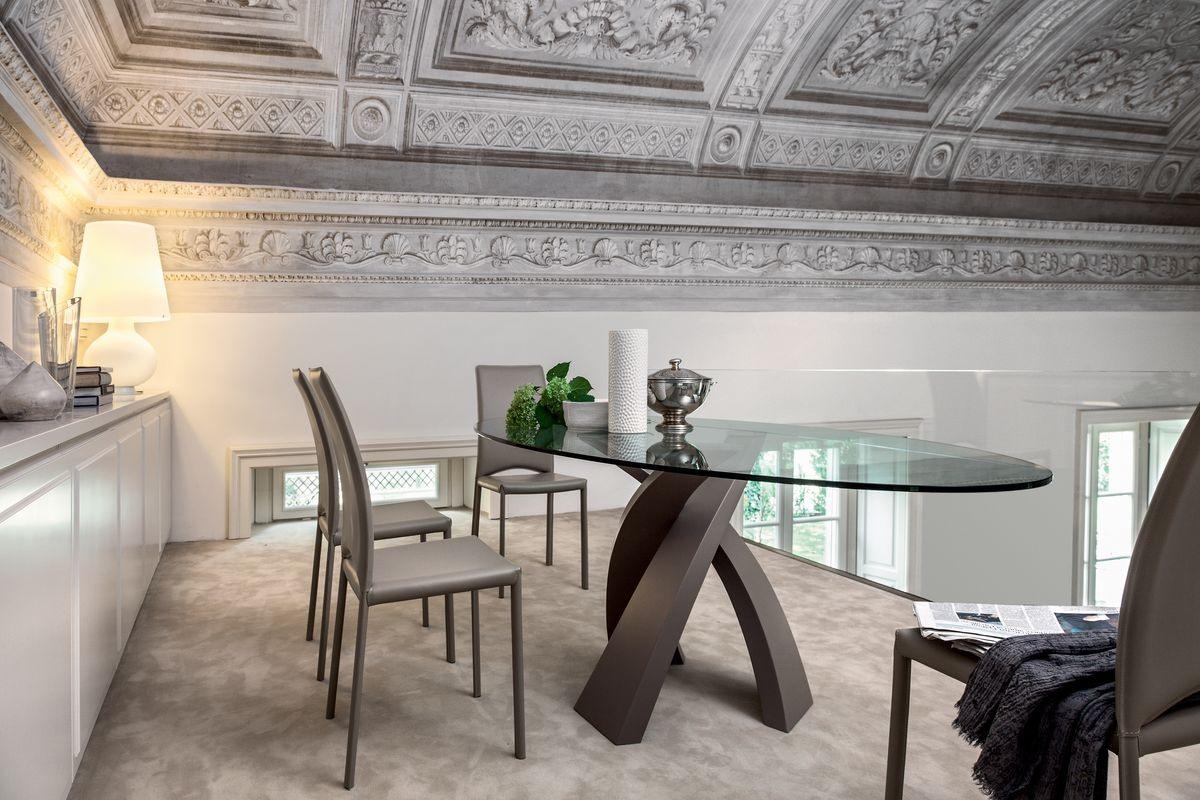 ELISEO, Table avec plateau en bois, verre ou céramique