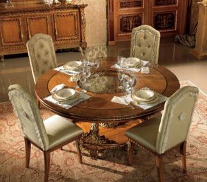 Esimia table, Table à manger ronde, avec des sculptures artisanales