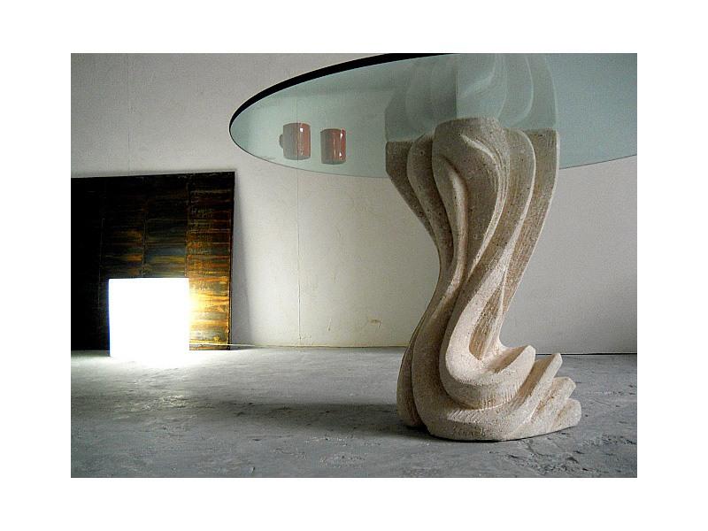 Essenza round, Table en pierre de pilier, rond ou carré