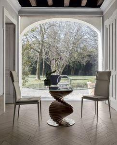 FIRENZE, Table fixe avec cadre en bois massif et base en acier poli