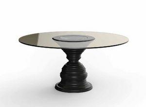 Frames Art. T09, Table avec plateau rond en cristal bronzé