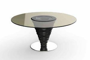Frames Art. T10, Table avec plateau en verre rond