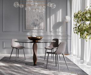 GENESIS, Table ronde élégante, avec plateau en verre