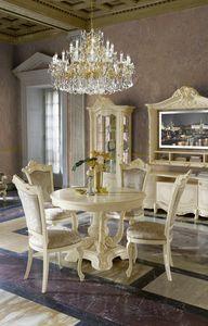 Madame Royale table ronde, Table de style classique avec plateau extensible