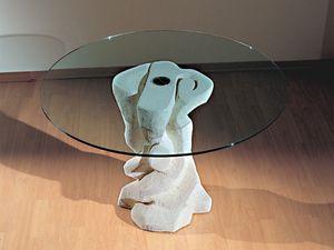 Mezzaluna Flangia, Table ronde avec base en pierre, plateau en verre