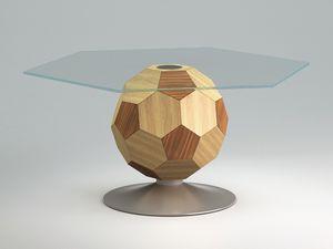 Mundial top, Tavolno à la chambre centre, verre, cadre en bois