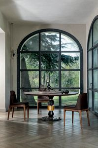 PANDORA TABLE, Table avec structure multi-matériaux et plateau en bois
