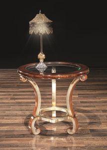 POISSY table 8681T, Table porte-lampe, avec le verre ronde, pour la vie