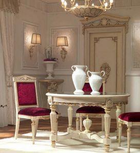 San Pietroburgo Art. TAV02/DIAM.122, Table de style classique avec plateau rond en cristal