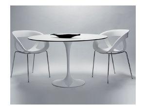 Saturno cod. 107 cod. 116, Table ronde avec base en aluminium peint