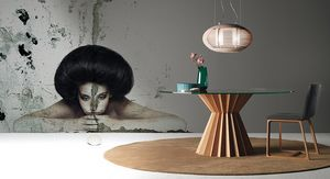 Superstar, Table ronde de salle à manger, plateau en verre, à base de noix