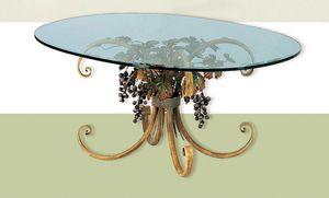 T.5190/4/T, Table ovale avec plateau en verre, décoration d'automne