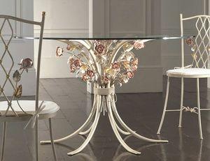 T.5470/6, Table en fer forgé avec plateau en verre