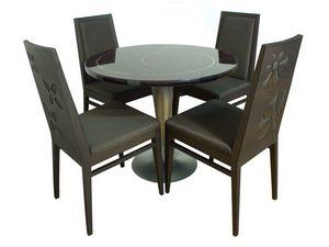 TD01, Table ronde en acier, haut en fibre de verre, des inserts en cuivre