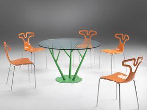 Tree, Table à manger avec plateau rond en verre