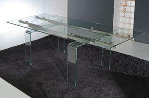 Art. 676 Glass, Table avec pieds et plateau en verre extensible