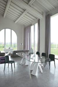 BIG ELISEO, Table avec double base et plateau en verre, bois ou céramique