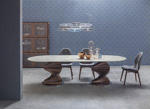 BIG FIRENZE, Table avec double base et plateau en verre ou en céramique