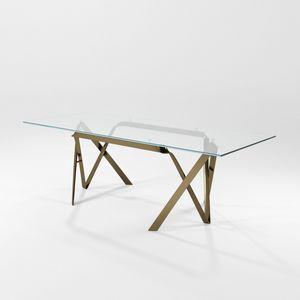 Compasso, Table avec plateau en verre et structure de lame de fer
