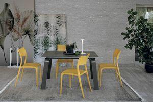 DEIMOS 130 TA191, Table à rallonges, structure en aluminium, grès cérame haut