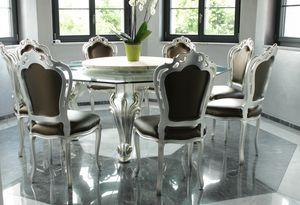 Dolce Vita, Table à manger avec plateau en verre octogonal