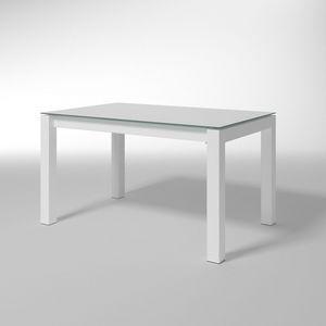 Doris, Table rectangulaire avec plateau en verre, pour les cuisines modernes