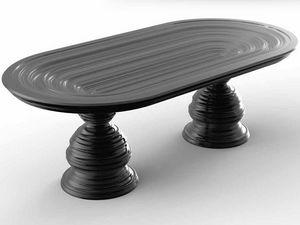 Frames Art. T01, Table avec plateau ovale en cristal