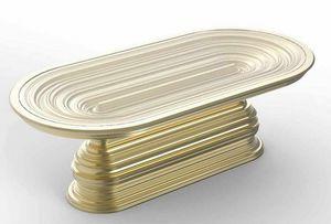 Frames Art. T07, Table ovale avec base décorative dorée