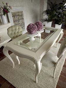 Giulietta table, Table à manger en bois blanc, plateau en verre