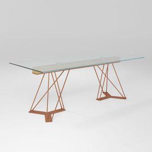Leon, Table en fer avec plateau en verre