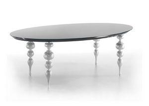 Michelangelo, Table avec plateau en verre trempé