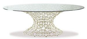 Mondrian, Table ovale, base en métal, plateau en verre