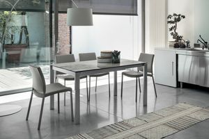 SOLE 140 TA180, Table extensible, structure en métal, plateau en verre