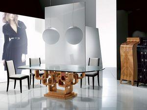 TA34 Glamour, Table à manger moderne, plateau en verre, avec incrustation