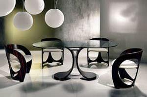 TA43 Mistral table, Table à manger avec plateau en verre, base en métal chromé