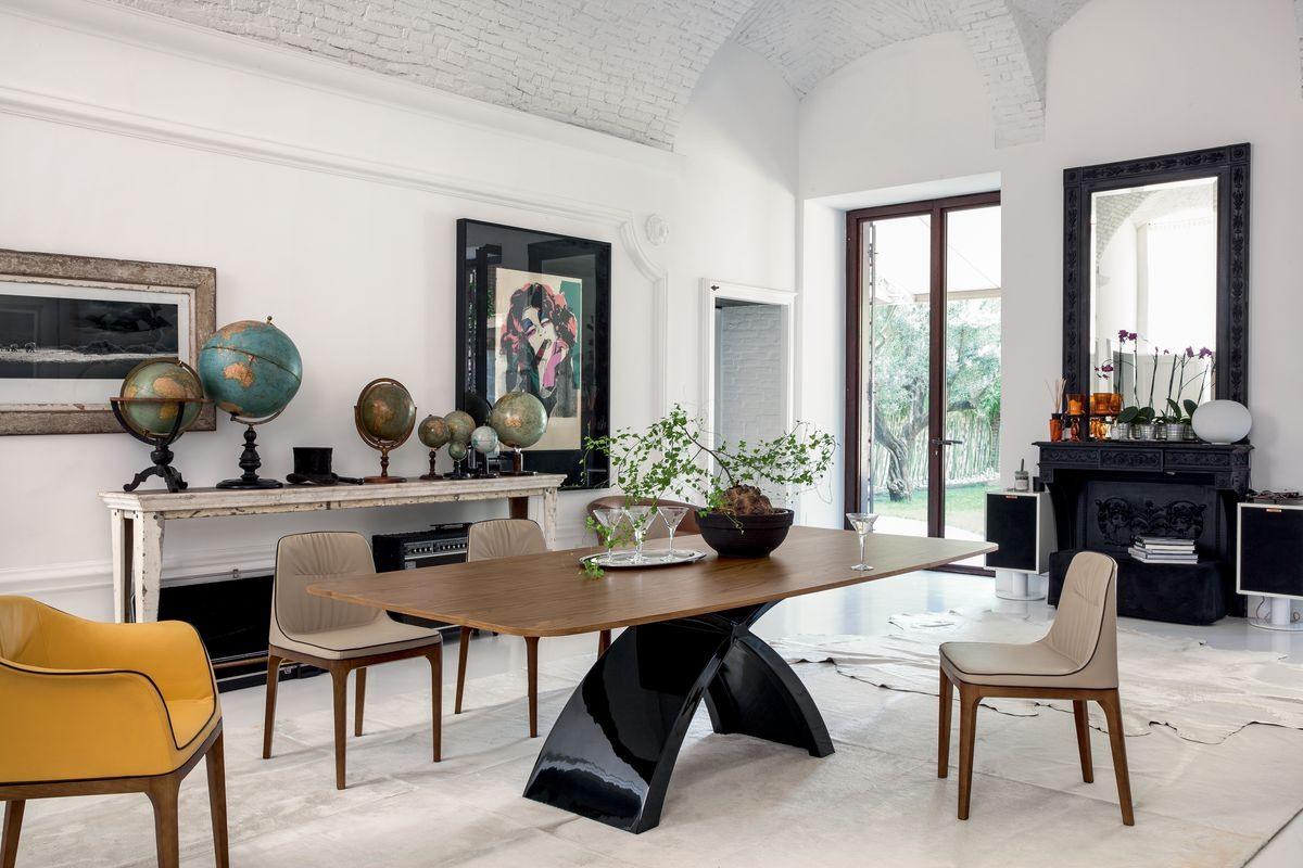 TOKYO, Table extensible ou fixe, avec plateau en verre, bois, marbre ou céramique