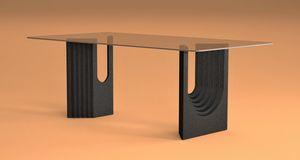 Ulisse, Table à manger avec base en pierre