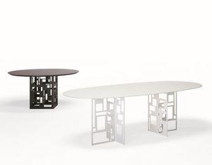 Velasca ovale, Table ovale, avec plateau en verre, pour salle à manger