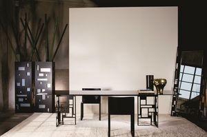 Velasca rectangulaire, Table en métal moderne, avec plateau en verre, idéal pour salle à manger