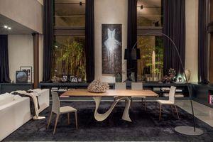 WAVE, Table à manger extensible, plateau en verre, pour le salon