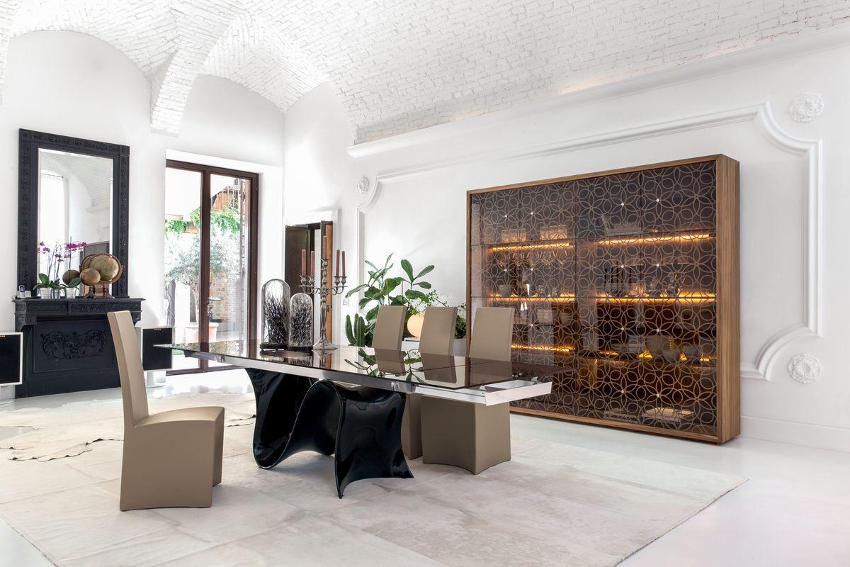WAVE, Mesa extensible o fija, con tapa de cristal, madera, mármol o cerámica.