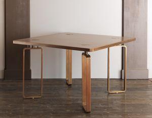 DOMINO HF2076TA, Table à manger en bois avec des décorations en laiton