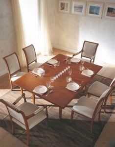 Villa Borghese Table à manger 3374, Table à manger style Directoire, avec plateau tournant