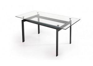 529, Table rectangulaire avec plateau en verre